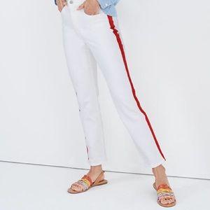 NWT Madewell White Tuxedo Stripe High Rise Jeans